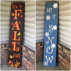 Reversible fall and winter welcome wood signs. Seasons wood signs crafts christmas crafts diy crafts hobbies crafts ideas crafts to sell crafts wooden signs Fall Wood Signs, Diy Wood Signs, Outdoor Wood Signs, Fall Pallet Signs, Painted Wood Signs, Wood Stencil Signs, Distressed Wood Signs, Wood Pallet Signs, Fall Signs