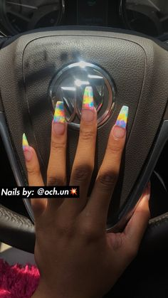 "If you're unfamiliar with nail trends and you hear the words ""coffin nails,"" what comes to mind? It's not nails with coffins drawn on them. It's long nails with a square tip, and the look has. Acrylic Nail Designs, Acrylic Nails, Acrylics, Matte Nails, Glitter Nails, Long Nails, Short Nails, How To Do Nails, My Nails"