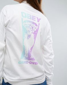Image 3 ofObey Boyfriend Long Sleeved Crew Neck Tee With Game Over Back…