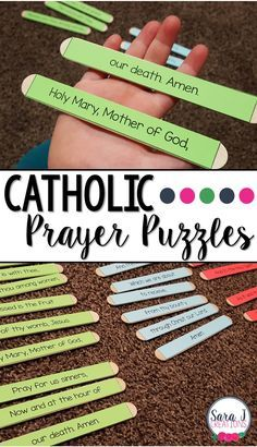 Catholic prayers for children made easier with the help of puzzles. Great way to help students memorize prayers. Catholic Kids, Catholic Homeschooling, Catholic Schools Week, Catholic Religious Education, Catholic Catechism, Catholic Crafts, Catholic Religion, Church Crafts, Ccd Activities