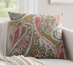 Zia Paisley Pillow Cover, 24 x Multi at Pottery Barn Paisley Quilt, Paisley Fabric, Pottery Barn Pillows, Decorative Throw Pillows, Decor Pillows, Couch Pillows, Accent Pillows, Decorative Items, Embroidered Cushions