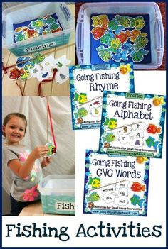 Fishing activities for rhyme, letters/sounds and CVC words! Pre K Activities, Alphabet Activities, Reading Activities, Hands On Activities, Teaching Reading, Classroom Activities, Teaching Ideas, Speech Activities, Reading Skills