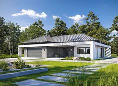 Klarowny D55 - zdjęcie 1 House Front, My House, Home Fashion, Exterior Design, House Plans, Shed, Villa, Outdoor Structures, House Design