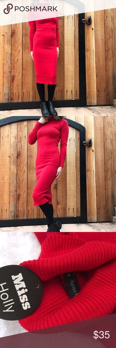 "NWT turtleneck dress30% OFF ANY BUNDLE Turtlenecks are all the rage right now! Super stretchy ribbed material Red is made to stand out!  Measurements  Bust - 12"" Sleeves - shoulder to hem - 26.5"" Total length (shoulder - hem, turtleneck not included) - 42.5""  #turtleneck #turtleneckdress #dress #winterdress Miss Holly Dresses Midi"