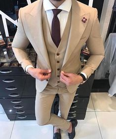 Styled Gentleman with a creme suit