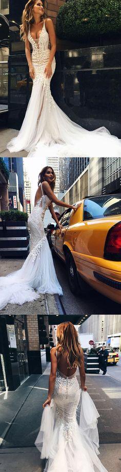 Sheath Wedding Dress : wedding dresses,sexy mermaid wedding dresses,sexy back wedding dresses,dresses f. V Neck Wedding Dress, Tulle Wedding, Wedding Attire, Mermaid Wedding, Party Wedding, Wedding Ceremony, Open Back Wedding Dress, Modest Wedding, Wedding Paper