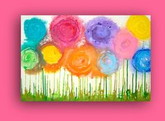 SOLD SUNSHINE AND LOLLIPOPS Acrylic Abstract Flower Painting by orabirenbaum, $265.00