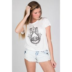 Hamsa Hand Graphic Tee Ragstock (1,135 INR) ❤ liked on Polyvore featuring tops, t-shirts, graphic print tees, graphic tees, graphic design t shirts, graphic t shirts and graphic print t shirts
