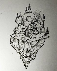 "Great #penandink #nature #illustration by Steve Thomas (@steve.t97) of a small house in the middle of a floating wilderness island of stone evergreen trees and its own personally mountain.  Entitled ""House goals"" I suppose this is just as much an ""architecture"" drawing as it is a ""nature"" drawing but I think that Steve's focus of this piece is not the house itself... it is the natural ""world"" around the house and the lovely quiet isolation that makes this place a true magnificent getaway…"