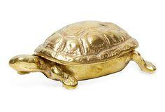 Brass Turtle Box Paperweight