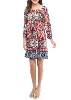Ruby Rd Women's Folk Border Print Knit Dress - Midnight Multi - Xl