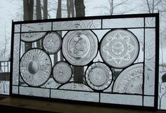 Vintage Crystal Plate panel transom by Barbarasstainedglass