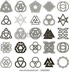 Set of symbols icons vector. Tattoo design set.