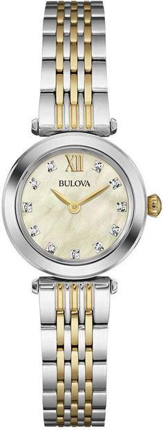 Bulova Women's Diamond Accent Two-Tone Stainless Steel Bracelet Watch 24mm 98P154