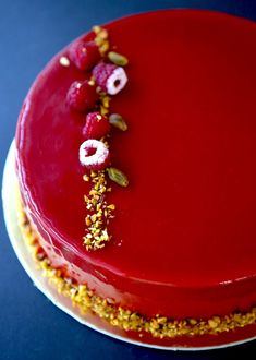 Gourmet Baking: Rouge Entremet (Raspberry, Chocolate, and Pistachio mousse cake Sweets Recipes, Cupcake Recipes, Baking Recipes, Party Recipes, Mousse Dessert, Mousse Cake, Cold Desserts, Fancy Desserts, Entremet Recipe