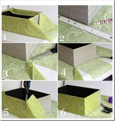 How To Cover a Box With Fabric Supplies Needed: Fabric or wallpaper remnants Boxes – shoe box style with separate lid and bottom. Spray Glue Scissors Ruler Pencil Optional: White glue and a small paint brush