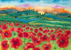 Red Poppy Field Sunset Watercolor Painting by CarissaLuminessArt