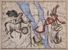 "Exhibition: 'Joseph Cornell: Wanderlust' at the Royal Academy of Arts, London. ""Joseph Cornell is my favourite artist that has ever lived on this Earth."" http://artblart.com/2015/09/25/exhibition-joseph-cornell-wanderlust-at-the-royal-academy-of-arts-london/ Art work: Joseph Cornell. 'Untitled [Sagittarius, Scorpio, and Lupus Constellations]' c. 1934"