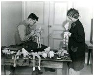 "Jack Marvin and Grace Leahy working on marionettes for the production ""Crock of Gold"", March 1936. Ralph Chessé papers, Collection #C0224, Box 1, Folder 4, Special Collections and Archives, George Mason University."