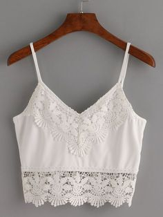 Shop Crochet Trimmed Crop Cami Top - White at ROMWE, discover more fashion styles online. Beige Crop Tops, White Crop Top Tank, Cami Crop Top, Crop Tank, Trendy Outfits, Summer Outfits, Fashion Outfits, Cami Tops, Summer Crop Tops