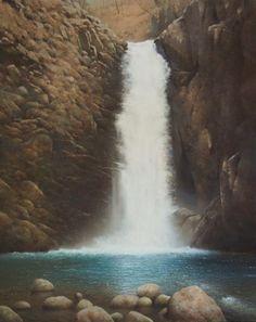 「大滝」続木唯道作 油彩(F40号) 2014年   第15回 (2014) 日本・フランス現代美術世界展特別推薦出品作品  第47回ベルギー・オランダ美術賞展特別推薦出品作品   ----  八ヶ岳南麓を流れ下る渓流には幾つかの魅力的な滝がある。 その姿形は、落差ある迫力一杯のものから、絹糸のように岩を滑り下るものまで様々。 清里にほど近いところにある「大滝」は堂々たる躍動感を堪能させてくれた。  4月の、標高1000mを越す故にまだ冬枯れ然とした周りの景色が、大滝の清冽さを一層際立たせている様に見えた。 新緑か紅葉の頃に又訪れてみようと思う。