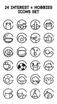 24 Interest n Hobbies icons.  The free icons would be debut later.  Please wait and thanks for watching.