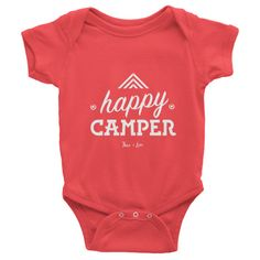 INFANT BABY ONESIE 'HAPPY CAMPER' ORGANIC