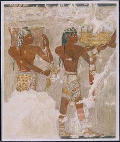 Keftiu - 1400 a.C. circa - pittura su intonaco - tomba di Rekhmire, Tebe. Raffigurazione dei Cretesi, che gli Egiziani chiamavano Keftiu, nella tomba di Rekhmire, governatore di Tebe. I due Cretesi hanno con sé un lingotto di rame e un rhyton a cono simili al lingotto di Kato Zakros e al rhyton dell'Ashmolean museum.    #MR