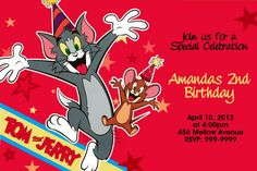 awesome Tom and Jerry Birthday Invitations