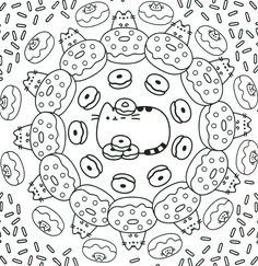 pusheen the cat donuts pattern coloring pages printable and coloring book to print for free. Find more coloring pages online for kids and adults of pusheen the cat donuts pattern coloring pages to print. Donut Coloring Page, Pusheen Coloring Pages, Shopkin Coloring Pages, Unicorn Coloring Pages, Pattern Coloring Pages, Online Coloring Pages, Cartoon Coloring Pages, Coloring Pages To Print, Coloring Book Pages