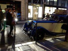 Vintage wheels parked at luxury house Moynat