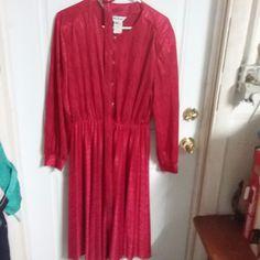 Anthony Richards 18 Dress Solid Red Long Sleevel Polyester #AnthonyRichards #Sheath #WeartoWork