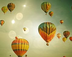 Hot Air Balloons Photography Print 11x14 Fine Art Whimsical Dreamy Sky Nursery Landscape Photography Print.
