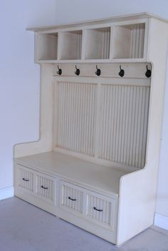 nice mudroom cabinet. I would like this inside our garage door- but in a brown black or black color