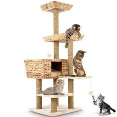Jago24Cat+scratching+post+ca.+141+high+in+beige+with+wicker+lying+platforms