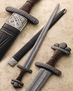 Inspired by swords found in Chertsey, England, and Copenhagen, Denmark, Vince Evans's interpretation of a 10th-century Viking sword includes a composite pattern-welded blade, blued-steel guard and pommel with silver wire inlay.