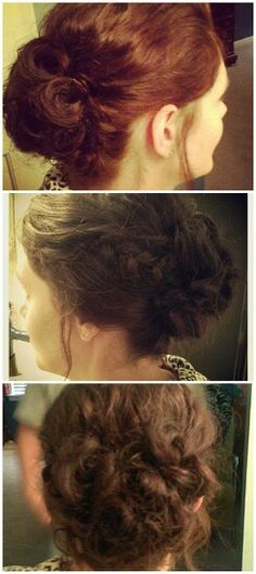 Updo for curly hair. Very simple! Holds all night!