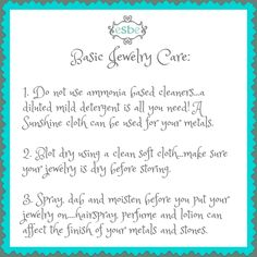 some basic jewelry cleaning care.