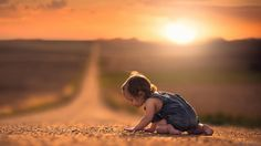 Adorable child on the road during sunset /cuteness overload