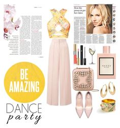 """""""party time"""" by hosseini-razie on Polyvore featuring Miss Selfridge, Manolo Blahnik, Yves Saint Laurent, Lancôme, Ann Taylor, Gucci and Riedel"""