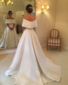 Off The Shoulder Long Satin Wedding Dresses, Elegant