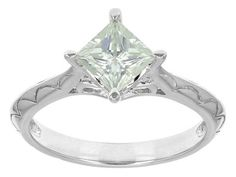 Moissanite Fire(Tm) .90ct Diamond Equivalent Weight Princess Cut Platineve(Tm) Ring
