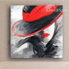 Pretty Girl and Red Hat Oil Painting #Wall #Art #Print