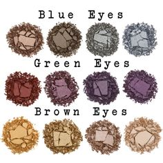 eye shadow for 3 main colors of eyes