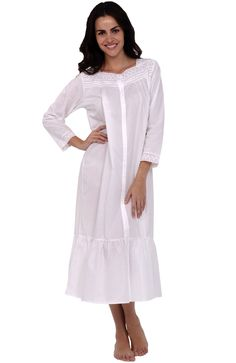 Del Rossa Women's Madeline 100% Cotton Long Victorian Nightgown, Large White (A0534WHTLG)