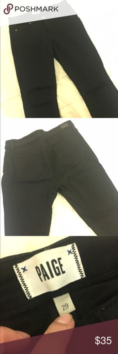 Paige Jeans Ripped Black skinny jeans Gently used Paige ripped black skinny jeans. Size 29. These black skinny jeans are super soft, and has 3 holes, there are 2 rips on the right side and 1 on the left. Size fits just right, length is regular, not tall or petite. (Holes were made with jeans when purchased). Paige Jeans Jeans Skinny