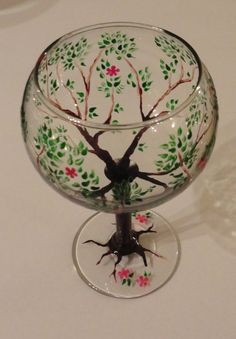 Hand painted wine glass  Spring Tree with a blue by christieshiver, $12.00