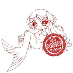 Cordelia the Mermaid Unmounted Red Rubber Stamp