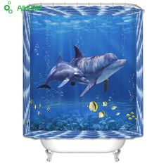 3D Dolphin Shower Curtain 180x180cm/150 * 180 cm Waterproof  Polyester Shower Curtain Bathroom Decorations #Affiliate