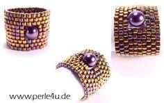 KLEINE PERLE RING de PERLE 4U DE Handmade Rings, Handmade Beads, Handmade Jewelry, Unique Jewelry, Diy Rings, Jewelry Rings, Earring Hanger, Unusual Rings, Bead Weaving